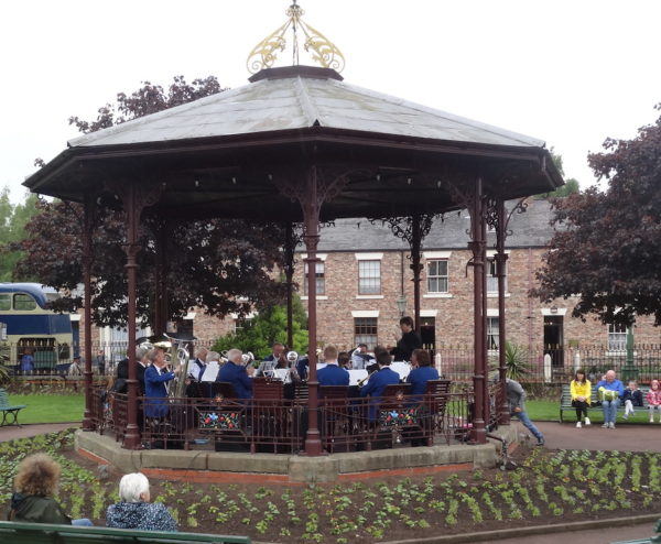 Hexham Brass playing in Beamish bandstand